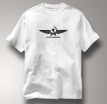 Aeroflot T Shirt Russian WHITE Airlines T Shirt Aviation T Shirt Soviet T Shirt Russian T Shirt