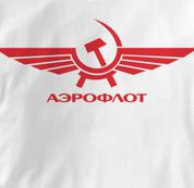 Aeroflot T Shirt Red Russian WHITE Airlines T Shirt Aviation T Shirt Soviet T Shirt Red Russian T Shirt