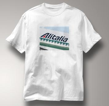 Alitalia T Shirt Alitalia Original Art WHITE Airlines T Shirt Aviation T Shirt Alitalia Original Art T Shirt