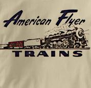 American Flyer T Shirt Vintage Logo TAN Railroad T Shirt Train T Shirt Vintage Logo T Shirt