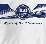 Baltimore & Ohio T Shirt Dieseliners WHITE Railroad T Shirt Train T Shirt B&O Museum T Shirt Dieseliners T Shirt