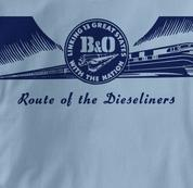 Baltimore & Ohio T Shirt Dieseliners BLUE Railroad T Shirt Train T Shirt B&O Museum T Shirt Dieseliners T Shirt