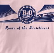 Baltimore & Ohio T Shirt Dieseliners PINK Railroad T Shirt Train T Shirt B&O Museum T Shirt Dieseliners T Shirt