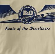 Baltimore & Ohio T Shirt Dieseliners TAN Railroad T Shirt Train T Shirt B&O Museum T Shirt Dieseliners T Shirt
