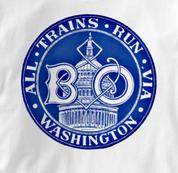 Baltimore & Ohio T Shirt Via Washington WHITE Railroad T Shirt Train T Shirt B&O Museum T Shirt Via Washington T Shirt