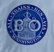 Baltimore & Ohio T Shirt Via Washington BLUE Railroad T Shirt Train T Shirt B&O Museum T Shirt Via Washington T Shirt