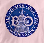Baltimore & Ohio T Shirt Via Washington PINK Railroad T Shirt Train T Shirt B&O Museum T Shirt Via Washington T Shirt