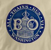 Baltimore & Ohio T Shirt Via Washington TAN Railroad T Shirt Train T Shirt B&O Museum T Shirt Via Washington T Shirt