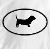 Basset Hound T Shirt Oval Profile WHITE Dog T Shirt Oval Profile T Shirt