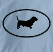 Basset Hound T Shirt Oval Profile BLUE Dog T Shirt Oval Profile T Shirt