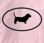 Basset Hound T Shirt Oval Profile PINK Dog T Shirt Oval Profile T Shirt