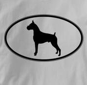 Boxer T Shirt Oval Profile GRAY Dog T Shirt Oval Profile T Shirt