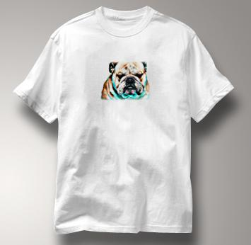 Bulldog T Shirt Portrait WHITE Dog T Shirt Portrait T Shirt