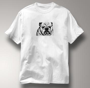 Bulldog T Shirt Portrait BW WHITE Dog T Shirt Portrait BW T Shirt