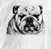 Bulldog T Shirt Portrait BW WHITE Dog T Shirt Portrait BW T Shirt