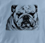 Bulldog T Shirt Portrait BW BLUE Dog T Shirt Portrait BW T Shirt