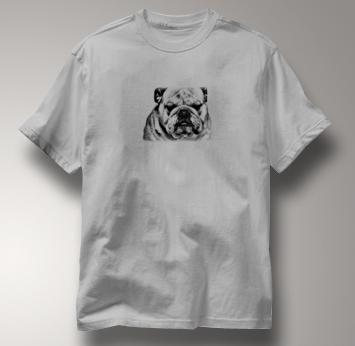 Bulldog T Shirt Portrait BW GRAY Dog T Shirt Portrait BW T Shirt