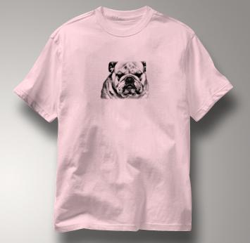 Bulldog T Shirt Portrait BW PINK Dog T Shirt Portrait BW T Shirt