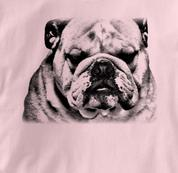 Bulldog T Shirt Portrait BW PINK Dog T Shirt Portrait BW T Shirt