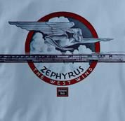 Burlington Route T Shirt Zephyr West Wind BLUE Railroad T Shirt Train T Shirt Zephyr West Wind T Shirt