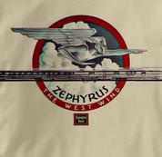 Burlington Route T Shirt Zephyr West Wind TAN Railroad T Shirt Train T Shirt Zephyr West Wind T Shirt