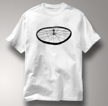 Bicycle T Shirt Busted Wheel Mountain Touring WHITE Cycling T Shirt Busted Wheel Mountain Touring T Shirt