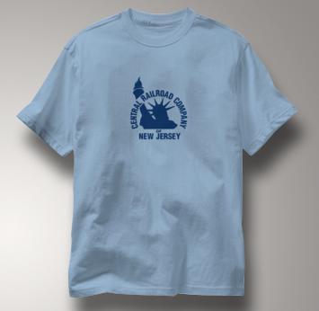 New Jersey Central T Shirt Vintage Logo BLUE Railroad T Shirt Train T Shirt Vintage Logo T Shirt