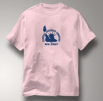 New Jersey Central T Shirt Vintage Logo PINK Railroad T Shirt Train T Shirt Vintage Logo T Shirt