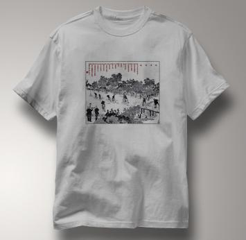 Bicycle T Shirt Chinese High Wheel Race 1889 GRAY Cycling T Shirt Chinese High Wheel Race 1889 T Shirt