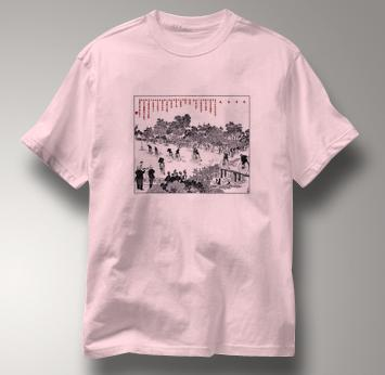 Bicycle T Shirt Chinese High Wheel Race 1889 PINK Cycling T Shirt Chinese High Wheel Race 1889 T Shirt