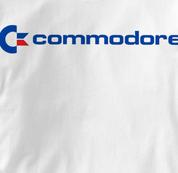 Commodore Computer T Shirt Vintage Logo WHITE Vintage Logo T Shirt Geek T Shirt
