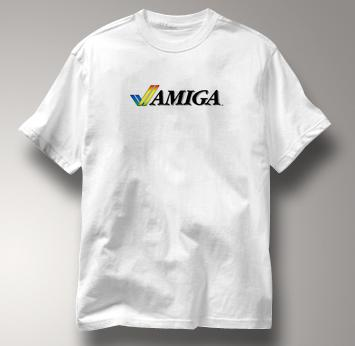 Commodore Computer T Shirt Vintage Logo Amiga WHITE Vintage Logo Amiga T Shirt Geek T Shirt