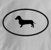 Dachshund T Shirt Oval Profile GRAY Dog T Shirt Oval Profile T Shirt