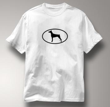 Doberman T Shirt Oval Profile WHITE Dog T Shirt Oval Profile T Shirt