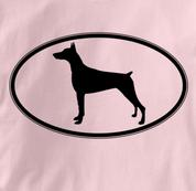 Doberman T Shirt Oval Profile PINK Dog T Shirt Oval Profile T Shirt