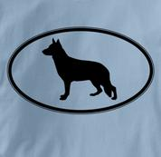 German Shepherd T Shirt Oval Profile BLUE Dog T Shirt Oval Profile T Shirt