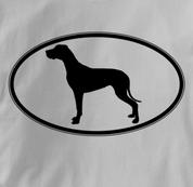 Great Dane T Shirt Oval Profile GRAY Dog T Shirt Oval Profile T Shirt