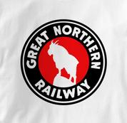 Great Northern Railway T Shirt Logo WHITE Railroad T Shirt Train T Shirt Logo T Shirt