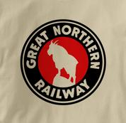 Great Northern Railway T Shirt Logo TAN Railroad T Shirt Train T Shirt Logo T Shirt
