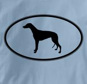 Greyhound T Shirt Oval Profile BLUE Dog T Shirt Oval Profile T Shirt