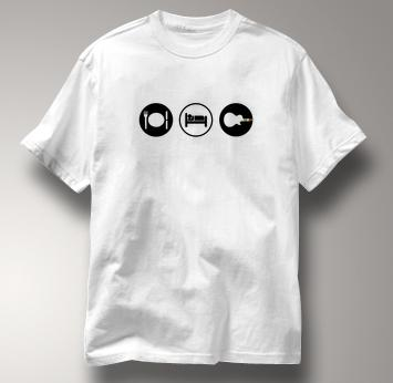 Guitar Hero T Shirt Eat Sleep Play WHITE Obsession T Shirt Guitar T Shirt Gear T Shirt Eat Sleep Play T Shirt