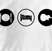 Guitar Hero T Shirt Eat Sleep Play WHITE Obsession T Shirt Guitar T Shirt Gear T Shirt Eat Sleep Play T Shirt
