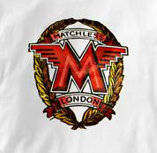 Matchless Motorcycle T Shirt Vintage Logo WHITE British Motorcycle T Shirt Vintage Logo T Shirt