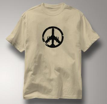 Peace Plane T Shirt TAN Peace T Shirt