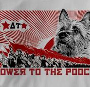 Australian Terrier T Shirt Power to the Pooch GRAY Dog T Shirt Power to the Pooch T Shirt