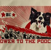 Border Collie T Shirt Power to the Pooch TAN Dog T Shirt Power to the Pooch T Shirt