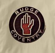 Rudge Motorcycle T Shirt Coventry Vintage Logo TAN British Motorcycle T Shirt Coventry Vintage Logo T Shirt