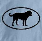 Saint Bernard T Shirt Oval Profile BLUE Dog T Shirt Oval Profile T Shirt