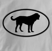 Saint Bernard T Shirt Oval Profile GRAY Dog T Shirt Oval Profile T Shirt