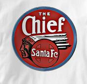 Santa Fe T Shirt Chief WHITE Railroad T Shirt Train T Shirt Chief T Shirt
